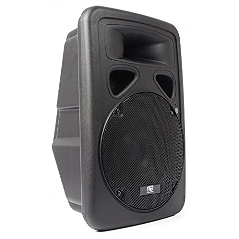 skytec SP1200A-BT PA Lautsprecher Aktivbox (600 Watt max., 30 cm (12'')-Subwoofer, Bluetooth, XLR-Mic-In, Cinch-Line-In, XLR-Line-In/-Out, mit Flansch) schwarz