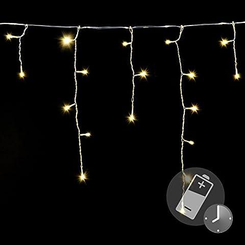 144er LED Eisregen Eiszapfen Kette Lichterkette warm weiß Timer Batterie transparentes Kabel Außen Weihnachtsdeko Party Garten Terrasse
