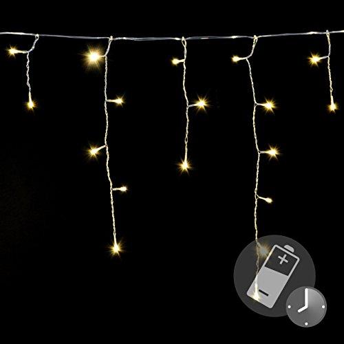 144er LED Eisregen Eiszapfen Kette Lichterkette warm weiß Timer Batterie transparentes Kabel Außen Weihnachtsdeko Party Garten Terrasse Balkon