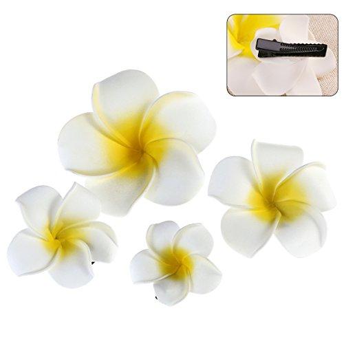 Tinksky les clips de cheveux des cheveux des fleurs des 4pcs ont barrato la plage Tropical du parti des femmes du fleur de Plumeria