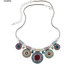 ZARU Collar Mujer 1PC Mujeres Gargantilla Estilo étnico de la Vendimia Plateada Collar Llamativo Colgante