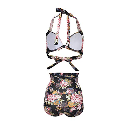 f75c28ff02 Damen 50's Vintage Damen Retro Bandeau Bademode Bikini High Waist Plus Size  Badeanzug Bauchweg Stil 03 ...