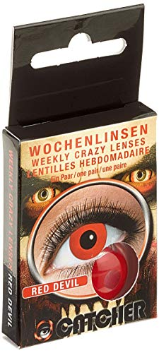 Eyecatcher - Farbige Kontaktlinsen, Farblinsen, Wochenlinsen, 2 Stück, Halloween, Karneval, Fasching, Teufel, rot