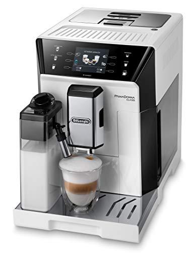 De'Longhi PrimaDonna Class ECAM 556.55.W - Kaffeevollautomat mit integriertem Milchsystem, 3,5'' TFT Touchscreen & App-Steuerung, automatische Reinigung, 36,1 x 26 x 46,9 cm, weiß