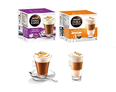 Nescafe Dolce Gusto Coffee Pods Capsules CARAMEL COLLECTION , Latte Caramel + Chococino Caramel, Pack of 2, 32 pods, 16 servings