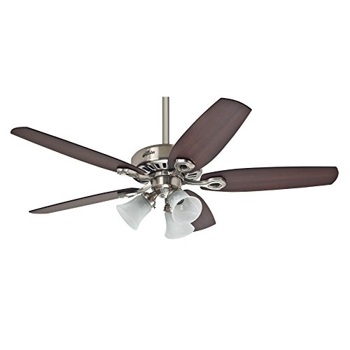 Hunter Fan 50561 Hunter Builder Plus Nickel brossé 132 cm Ventilateur de plafond avec éclairage, Acier, 65 W, 132 cm