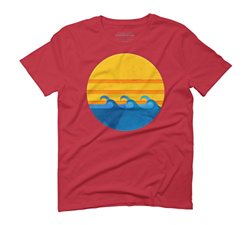 Retro Wave and Sunset Men's Graphic T-Shirt - Design By Humans Red