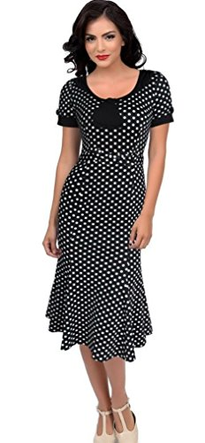Robe de Rockabilly Pin Up Wiggle Crayon Années 40 50 Style Vintage (FR44, Polka)