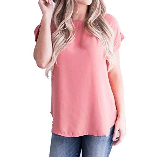 ESAILQ Damen Frauen Casual Kurzarm Stretch Falten Tunika Bluse Sommer Obteile mit Knöpfen V-Ausschnitt Ladies Shirt mit Gummizug Am Saum(XL,Wassermelone Rot)