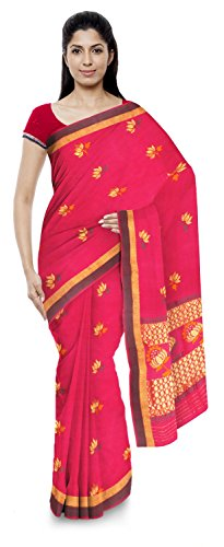 Kota Doria Sarees Handloom Women's Kota Doria Handloom Cotton Silk Saree With Blouse Piece (Pink)