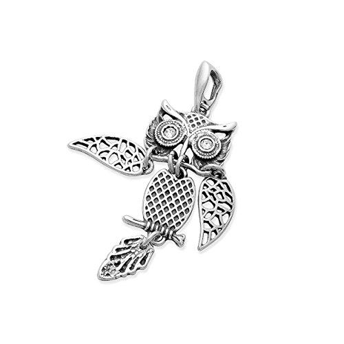 XL 925 Silber Kettenanhänger Eule 5 cm mit beweglichen Glieder und Zirkonia Augen & Schmucketui #763
