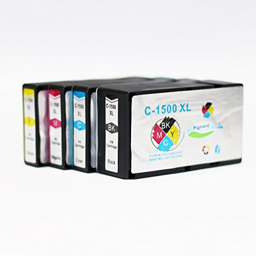 ADLUS Druckerpatronen kompatibel für Canon PGI-1500xl (1BK,1C,1M,1Y) für Canon Maxify MB2350 MB2050 MB2300 MB2000 MB2150 MB2755 MB2155 MB2750 Drucker Patronen