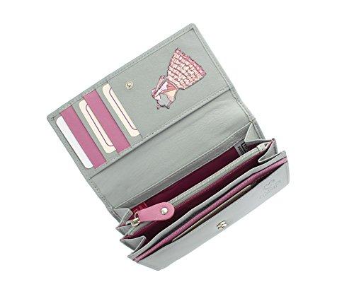 Pelle mala PALOMA Collection Borsa di cuoio stampata - RFID Protezione 3306_85 Grey Grey