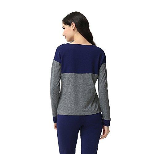 Damen bequem mit langen Ärmeln Pyjama Zweiteiliger Nachtwäsche Anzug Blau