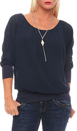malito Bluse mit exklusiver Kette Klassisch Tunika Hemdbluse Oberteil T-Shirt Top Loose Longsleeve Oversized Slim Fit Skinny 1133 Damen One Size (dunkelblau)