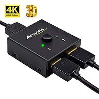 AMANKA Conmutador HDMI 4K Divisor HDMI Bidireccional 2 Entradas a 1 Salida o Switch 1 in a 2 out, Soporta 3D 1080P para HDTV/Reproductor de BLU-Ray/DVD / PS4 / Xbox y más