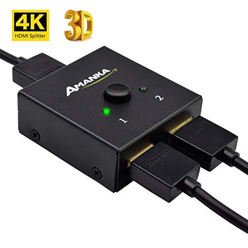 HDMI Switch, Amanka HDMI Bi-Directional Switcher Switch/Splitter HDMI Full HD 3d 4Kx2K 2x 1oder 1x 2Halterung -