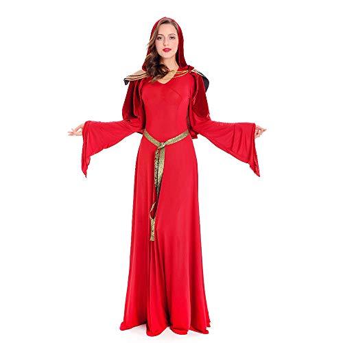 Edelehu Roter Zauberer-Mantel Halloween Cosplay Kostüm Tunika Kapuzen Robe Kapuzenmantel Cape Medieval Kapuzen-Party-Ausrüstung Erwachsene