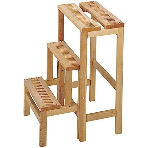 Escalera plegable, taburete 3 peldaños, escalera madera, Taburete Escalera 3 - sinbarniz