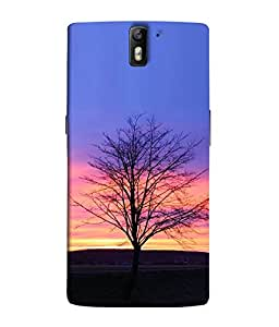 FUSON Designer Back Case Cover for OnePlus One :: OnePlus 1 :: One Plus One (Blue Sky background Rainbow artistic tree Design)