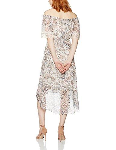 FIND Robe fleurie à Epaules Dénudées Femme Blanc (Ivory Print)