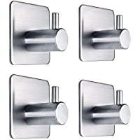 Self Adhesive Hooks Stainless Steel Stick on Wall Hanger for Kitchen Bathroom Office Closet - Waterproof, No Drill Glue…