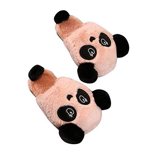 Minetom Unisex Damen Herren Kinder Winter Baumwolle Hausschuhe Wärm Plüsch Pantoffeln Familie Haus Rutschfeste Niedlich Karikatur Panda Katzenbär Mädchen Jungen Slippers Rosa 39/40 EU (Mama)