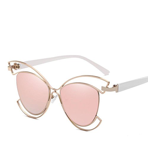 Biutefang occhiali da sole da uomo donna occhiali da sole occhio di gatto di carattere europeo e americano struttura mezza cava occhiali da sole moda colore pellicola lady occhiali da sole del metallo