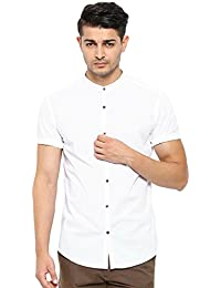 SHOWOFF Mens White Solid Casual Shirts