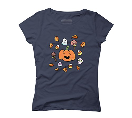 men's Medium Navy Graphic T-Shirt - Design By Humans (Halloween Spooky Drinks)