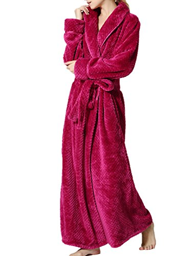 BELLOO Ladies Winter Velvet Fleece Dressing Full Long Fluffy Loungewear Bathrobe - 41u2CBtzTvL - BELLOO Ladies Winter Velvet Fleece Dressing Full Long Fluffy Loungewear Bathrobe