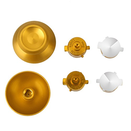 2pcs Tapas de Palanca de Metal y 2pcs Botones de Regulador para Playstation 4 Controlador de Color Dorado 41u2D7FY0mL