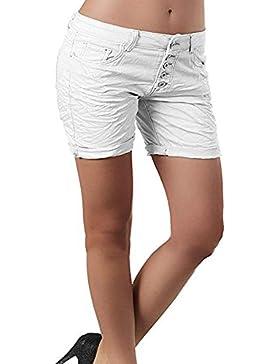 Pantalones Cortos de Mezclilla Ocasionales de Las Mujeres Botones de Cintura Alta Jeans Cortos Puros Summer Hot...