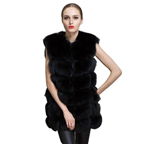 Fami Femmes d'hiver Outwear chaud Veste mince, veste de fourrure de fausse fourrure de fourrure (Size:S, Noir)