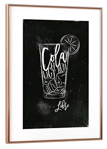artboxONE Poster mit Rahmen Kupfer 60x40 cm Cuba Libre Cocktail Chalk von Anna Kozlenko - gerahmtes Poster