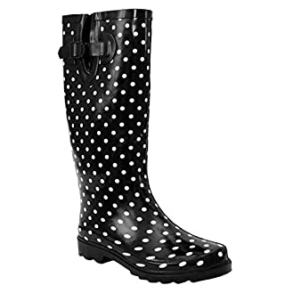 A&H Footwear New Womens Ladies Ajustable Calf Snow Rain Mud Festival Waterproof Wellington Boots Wellies Sizes UK 3-8 (UK 5, Black/White Spots)