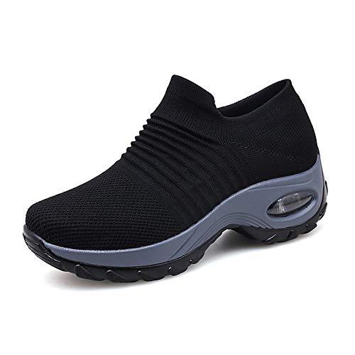 Zapatillas Deportivas de Mujer Gimnasio Zapatos Running Deportivos Fitness Correr Casual Ligero Comodos Respirable Negro Gris Morado 35-42 BK36