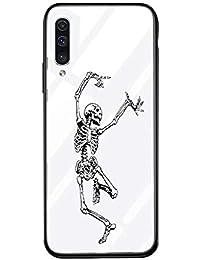 Suhctup Carcasa de Cristal Templado de Dibujos Lindo Compatible con Samsung Galaxy S10+ Plus Funda Vidrio Templado Transparante Clear Antichoques Cover Suave Slicona Gel TPU Cuadro Case,Cráneo