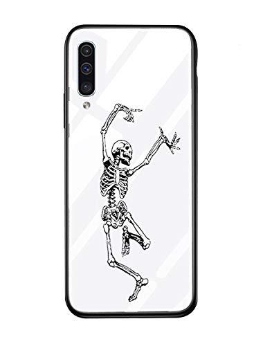 für Galaxy J6 2018 Hülle Transparent Silikon Rahmen Handyhülle Durchsichtig Aufklappen Schutzhülle,Gehärtetem Glas Bumper Tier Süß für Samsung Galaxy J6 2018 (Skull) ()