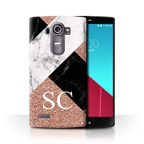 Stuff4® Personalisiert Individuell Roségold Glitter Marmor Hülle für LG G4 Beat/H735 / Kreuz Monogramm Design/Initiale/Name/Text Schutzhülle/Case/Etui (Skins Glitter Beats)