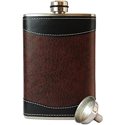 8oz Stainless Steel Primo 18/8 #304 Brown/Black PU Leather Premium High Quality/Heavy Duty Hip Flask Gift Set - Includes Funnel and Gift Box by Primo Liquor Flasks - Liquor Flask Gift Set