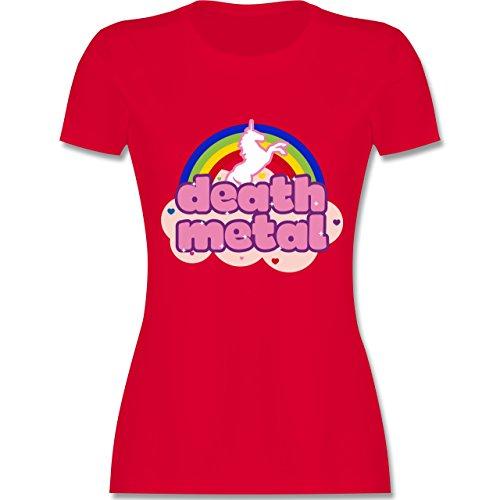 Statement Shirts - Death Metal Einhorn - tailliertes Premium T-Shirt mit Rundhalsausschnitt für Damen Rot