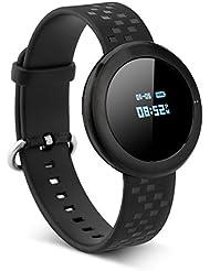 Diggro ET01 - Impermeable Ajustable Smartwatch Reloj de Pulsera Android IOS (Pantalla OLED, Bluetooth 4.0, Ritmo Cardíaco, calorías, Podómetro, Monitor del Sueño, Recordatorio de Llamada y Mensaje, Resistencia de agua IP6), (Negro)