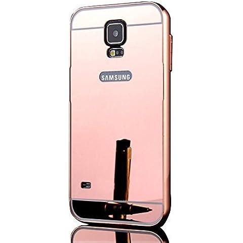 Sunnycase® Premium PC Bumper Para Samsung Galaxy S5 I9600 Funda Aluminio carcasa rosa Metal Mirror Bumper phone case cover dura cubierta alta calidad Protección Carcasa Marco