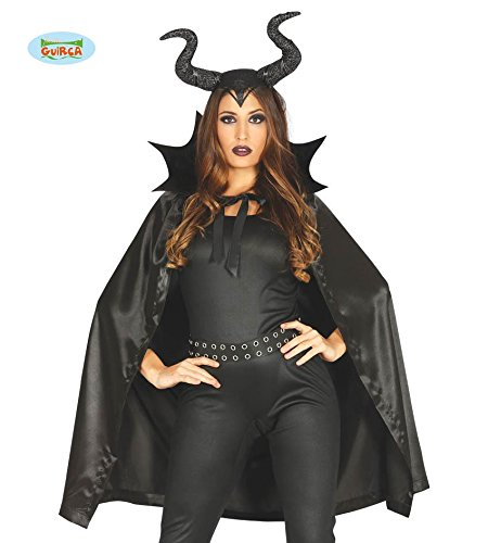 Teufel Halloween Hörner (Halloween schwarzer Teufel mit Hörnern Halloween Umhang Horror Robe Vampirumhang schwarz 100)