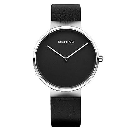 Bering Time Fair Novelty – Reloj Analógico de Cuarzo para Mujer, correa de Cuero color Negro