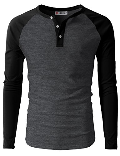 Pliuegy Mens Casual Slim Fit Raglan Baseball Three-Quarter Sleeve Henley T-Shirts CMTTL077-CHARCOALBLACK