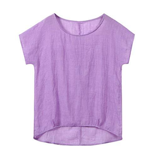 TWIFER Damen Fledermaus Kurzarm Beiläufige Lose Tops Dünnschnitt Bluse T-Shirt Pullover - Baumwolle Bestickt Verziert Top