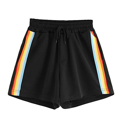 Mecohe pantaloncini sportivi da donna, arcobaleno a strisce metà vita sciolto pantaloncini in vita con coulisse, pantaloncini estivi casual shorts (s, nero)