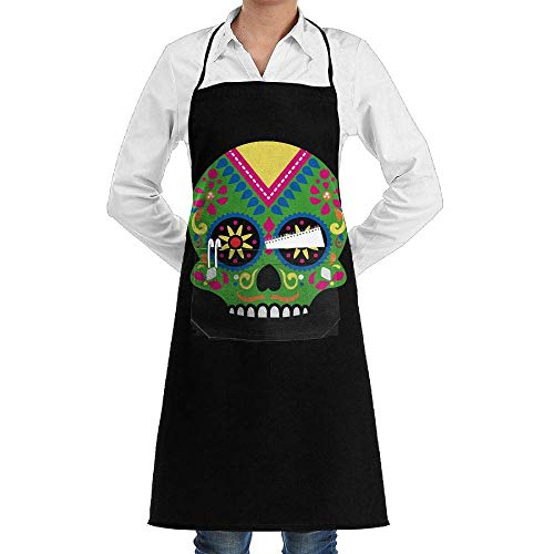 Grill Aprons Kitchen Chef Bib Vintage Floral Halloween Skeleton Skull Extra Long Adjustable Ties for Cooking,BBQ,Baking Floral Vintage Bib